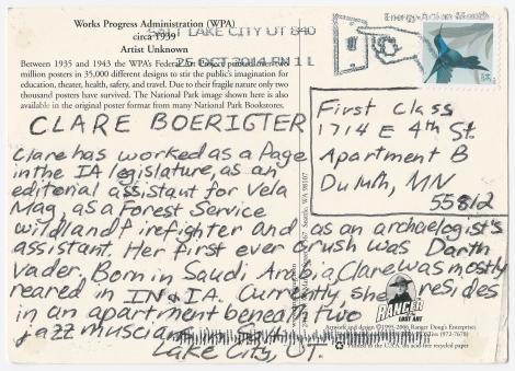 Clare Bio Postcard Back