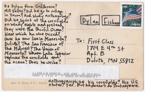 Dylan Bio Postcard Back