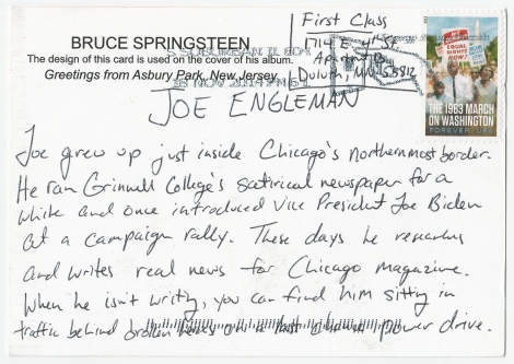 Joe Bio Postcard Back